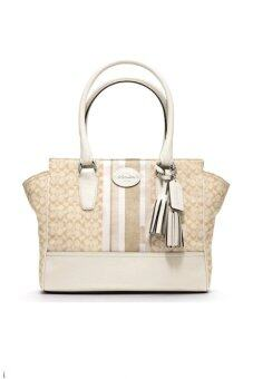 Harga COACH LEGACY SIGNATURE STRIPE CANDICE CARRYALL BAG รุ่น 19915 (Parchment )