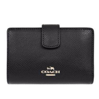 COACH กระเป๋าสตางค์ MEDIUM CORNER ZIP WALLET IN CROSSGRAIN LEATHER F54010 IMBLK (IM/BLACK)
