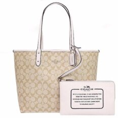 COACH กระเป๋า REVERSIBLE CITY TOTE IN SIGNATURE F36658 (IM/Light Khaki/Chalk)
