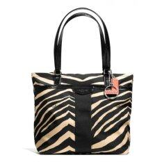 Coach Signature Stripe Zebra Tote Stripe รุ่น 23283 - Black