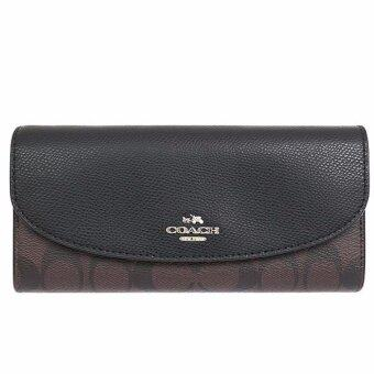 COACH กระเป๋าสตางค์ SLIM ENVELOPE WALLET IN SIGNATURE F54022(IM/BROWN/BLACK)
