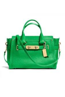 COACH SWAGGER PEBBLE LEATHER HANDBAG รุ่น 34408 - Green