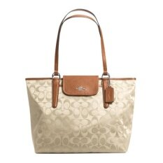 Coach Ward Tote in Signature Nylon and Leather รุ่น 33475 - Biscuit