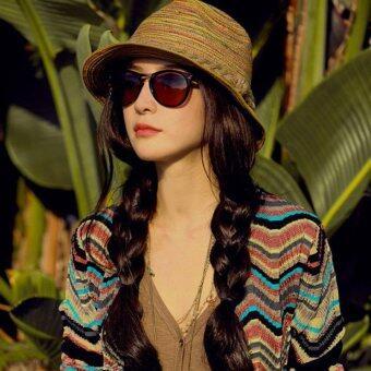 Cocotina หมวกสักหลาดสไตล์ผู้หญิงสวมหมวกฟางปีกกว้างแดดร้อนหาดหาดแจ๊ส
