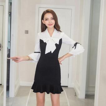 เกาหลีหญิง Cooljie ฮอร์นชุดแขน (สีดำและสีขาวต่อสู้)