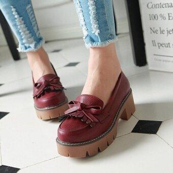 หวานพู่หญิง Cooljie รองเท้าต่ำหนากับรองเท้ารองเท้าเดียว (ไวน์แดง)