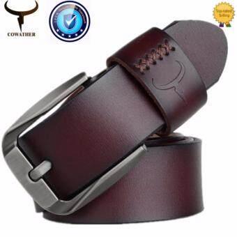 COWATHER 2017 เข็มขัดหนังวัวแท้สำหรับผู้ชาย Cow Genuine Leather Belts Pin Buckle Strap Belt สายวัวแท้ ความกว้างของแท้ 100% ความกว้าง 1-1 / 2