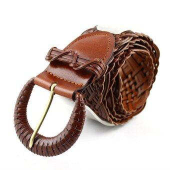 COWATHER 2017 Luxury Women Belt Knitted Cow Leather Belts for Women Strap Female Pin Buckle Belt Summer Dress Belt Brown 105CM - intl