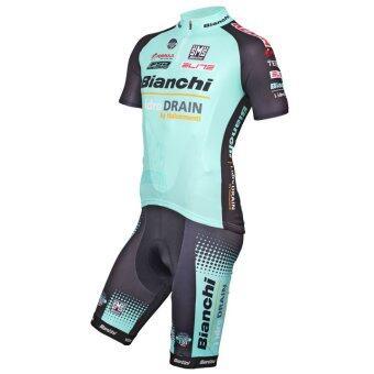 ราคา CS Sport ชุดปั่นจักรยานผู้ชาย นื้อผ้า polyester 100% เป้าเจล 5D 2016 Team bianchi