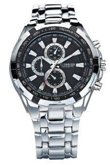 Curren นาฬิกาข้อมือผู้ชาย สายสแตนเลส น้ำหนักดี คมกริบ แท้ 100% สีเงิน/ดำ รุ่น C8023 พร้อมกล่องนาฬิกา CURREN