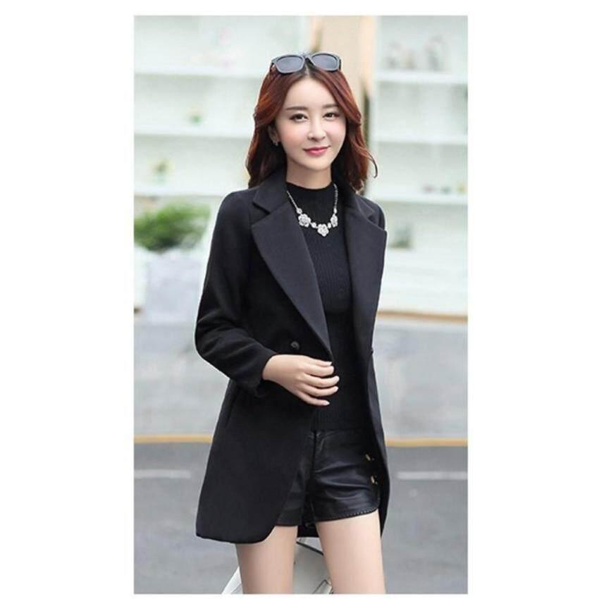 CW5908005 เสื้อโค้ทขนสัตว์ (ผ้าวู) ปกเชิ้ตสีดำงานเกาหลี คุณภาพดีงานสวยมาก