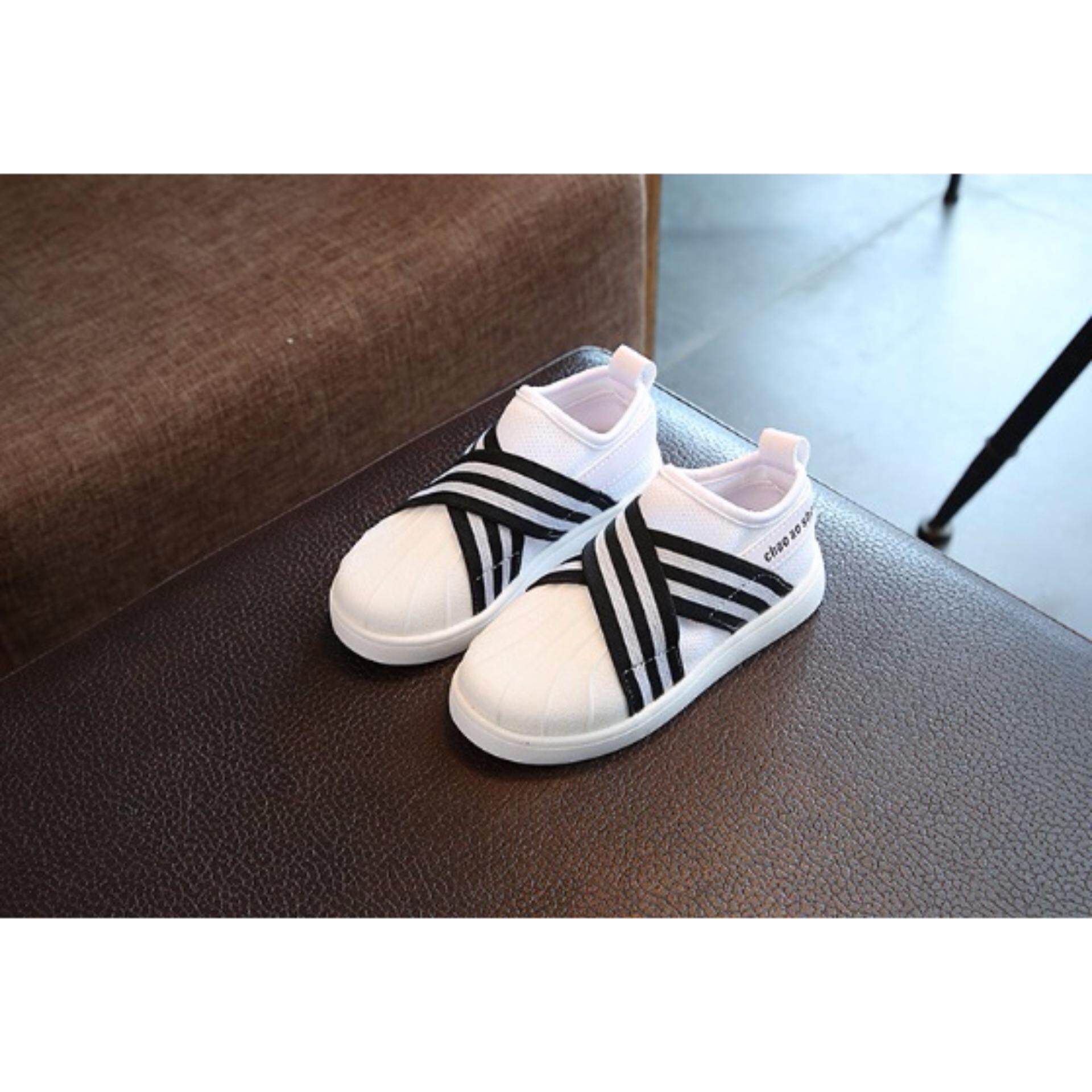 D2kids รองเท้าผ้าใบสีขาวคาดดำขาว