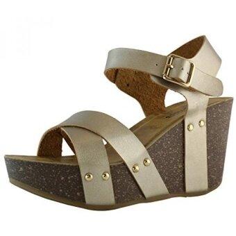 DailyShoes Womens womens womens Platform Wedge Sandals Slide On Comfort Thick Cork Board Criss Cross Sandal Buckle Shoes Champ PU 9 B(M) US - intl
