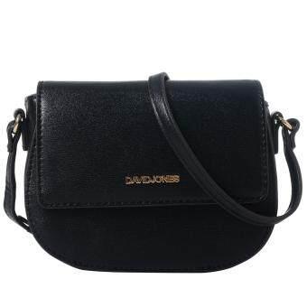 DAVID JONES Mini Shoulderbag Saddle BAG (สีดำ)