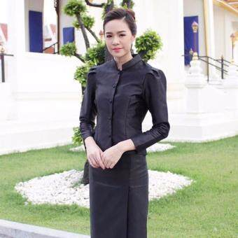 Dokpikul-ชุดไทยจิตรลดา ผ้าซาติน ไหมนิ่ม (เฉพาะผ้าถุง) ชุดดำไว้อาลัย ชุดเคารพพระบรมศพ - สีดำ