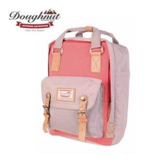 Doughnut Macaroon Unisex Waterproof Nylon Backpack (Peach Pink xIvory) - intl