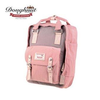 Doughnut Macaroon Unisex Waterproof Nylon Backpack (Pink x Grey) -intl