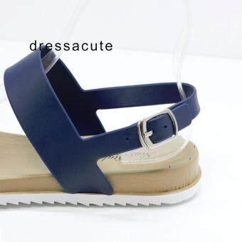 Dress A Cute รองเท้าแตะยาง คาดหน้า 2 เส้น แบบรัดข้อ สีน้ำเงิน รุ่น3508 - 4