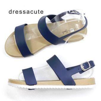 Dress A Cute รองเท้าแตะยาง คาดหน้า 2 เส้น แบบรัดข้อ สีน้ำเงิน รุ่น3508 - 3