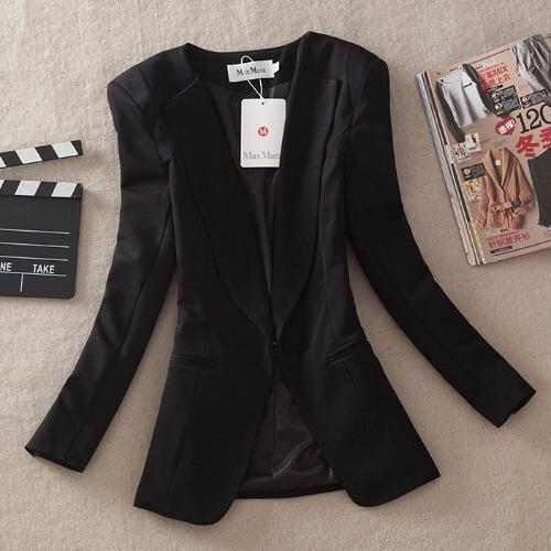 Dress Up House เสื้อสูท แขนยาว มีปก มีตะขอเกี่ยว มีซับใน - สีดำ