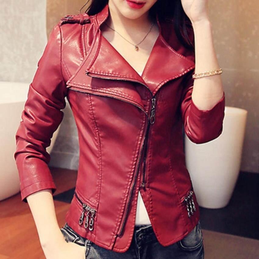 Dress Up House รหัส D1064redL เสื้อแจ็คเก็ตหนังเนื้อนิ่ม คอปกโฉบเฉี่ยว แต่งซิบช่วงเอว (สีแดง)