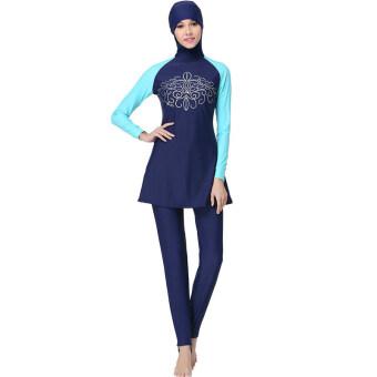 EGC ใหม่ชุดว่ายน้ำมุสลิมแยกชุดว่ายน้ำสำหรับผู้หญิง YY004(+SkyBlueสีน้ำเงิน)