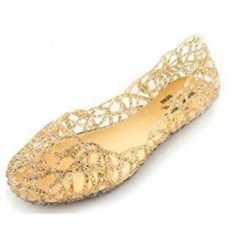 EGELEXY Womens Slip On Ballet Flats Jelly Mesh Flat Sandals US 8.5 Gold - intl