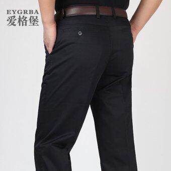 EGGER สีดำฤดูใบไม้ผลิใหม่กางเกงตรงธุรกิจกางเกงลำลอง (D989 สีดำและสีฟ้า)