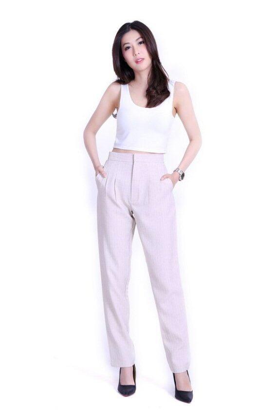 Eiffel Jeans กางเกงขายาว ทรงกระบอกเล็ก ลายริ้ว ST004 (สีชมพูอ่อน)