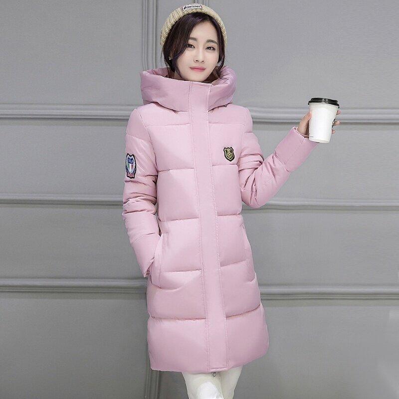 เกาหลีสีทึบหญิงฤดูหนาวคลุมด้วยผ้าแจ็คเก็ตเบาะลง (Elderberry)