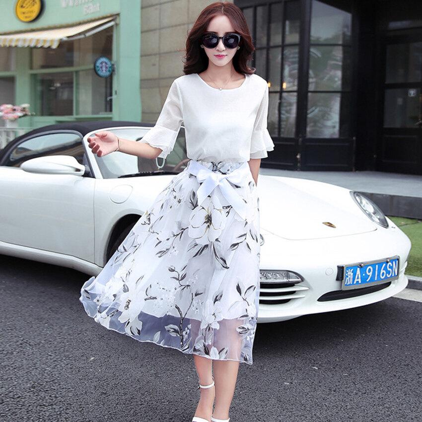 Elegant Women Dress Organza Floral Fake Two - intl