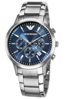 Emporio Armani Classic นาฬิกาข้อมือผู้ชาย Silver/Blue สายสแตนเลส รุ่น AR2448