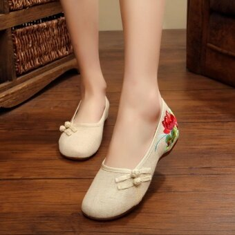 EP New Chinese Style Women Casual Flower Sandals Embroidered Flats Mary Janes Shoes-Beige - intl