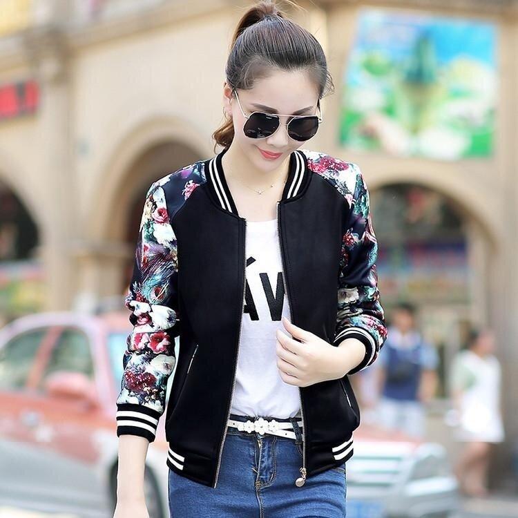 EP Women Fashion Bomber Jacket Flight Suit Casual Jacket Embroidered Print Coat-Black - intl