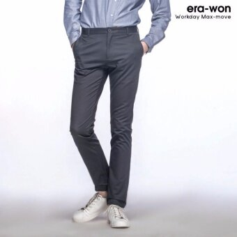 era-won กางเกงสแลคขายาว ทรงกระบอกเล็ก Workday Maxmove สีเทาเข้ม (Dark grey)