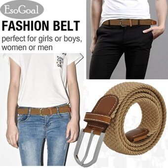 EsoGoal Braided Stretch Belt Canvas Fabric Woven Elastic Casual Belt for Men and Women (Khaki) - intl