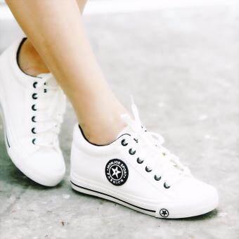 ESTHER รองเท้าผ้าใบแฟชั่นผู้หญิง รุ่น CM9107 - WHITE/BLACK (สีขาว)