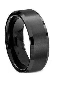 สเตนเลส Fancyqube ไทเทเนียมแหวนแต่งงานชายสีดำ