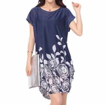 Fancyqube Large Size Summer Dress Printed Dress Short SleevesStraight Dresses Women Clothing Navy - intl