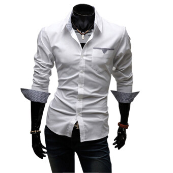 Harga Fashion Brand Men Clothes Slim Fit Men Long Sleeve shirt men purecolor Casual shirt White - intl