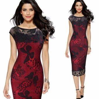 Fashion Dress high quality lace embroidery dress skirt sexy pencil dress large size - intl