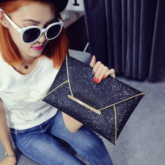 Fashion Elegant Ladies Glitter Sequins Clutch Bag Party Evening Envelope Shiny Purse (Black) - intl
