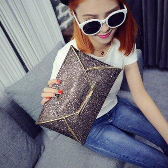 Fashion Elegant Ladies Glitter Sequins Clutch Bag Party Evening Envelope Shiny Purse (Brown) - intl