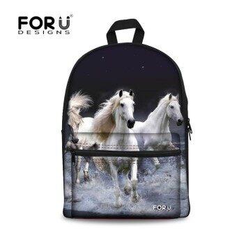 Fashion Girls Backpack 3D Crazy Horse Printing Children Backpacks Cool Women Travel Backbag Kids School Book Bags High Quality - intl