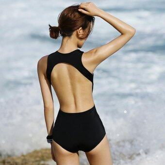 Fashion Heart-shaped Letter One-Piece Suit Women Backless Swimsuit(Black) - intl