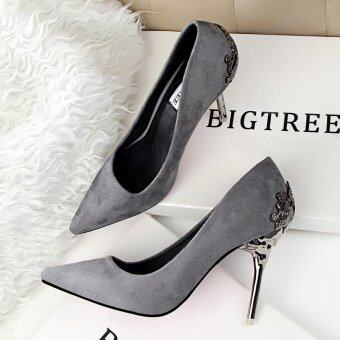 Fashion High-Heeled Shoes Woman Pumps Thin Heels High Heels Suede Pointed Toe Women Shoes Closed Toe Ladies Wedding Shoes (Grey)