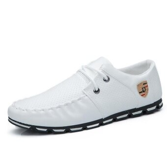 Harga Fashion Men Casual Shoes Formal Business Leather Shoes (White) - intl