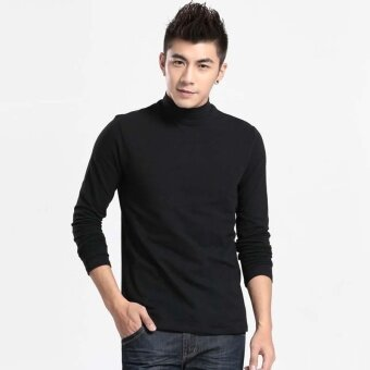 Fashion Men's Autumn Winter High-neck Solid Color Pullover Sweater(Black) - intl