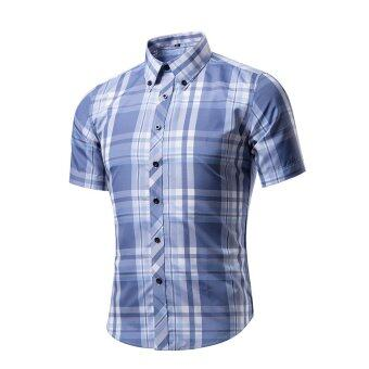 Fashion Men's Trousers Short Sleeve Shirt Men's Shirt- G - intl