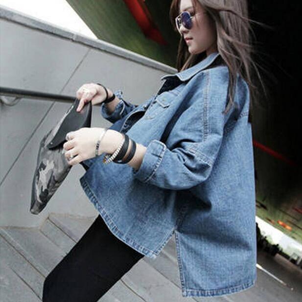 fashion new denim jacket female short paragraph batwing sleeve women -Blue - Intl